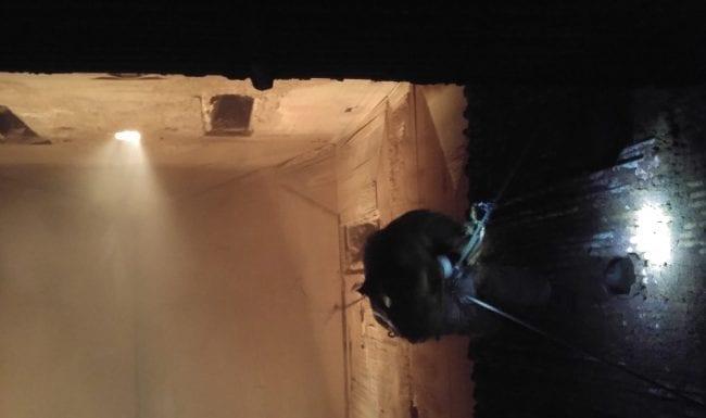 Kesselreinigung mittels Sicherheitsreinigung durch Industriekletterer in einem Kraftwerk